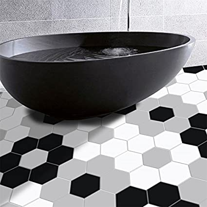 Amazon Amazingwall Black White Grey Hexagon Shape Floor Sticker