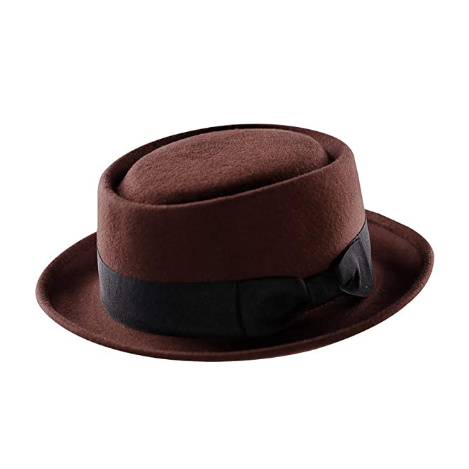 Men's Vintage Style Hats Pork Pie Hat-100% Wool Felt Mens Porkpie Hats Flat Mens Fedora Top Classic Bowknot Telescope Cap Outfit Decorations $25.98 AT vintagedancer.com
