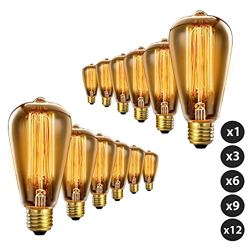 Trellonics 12 Pack Long-Life Premium Quality Edison Light Bulbs 40W Squirrel Cage Filament Standard Shaped Lamp - Available as 1,3,6,9 & 12 Packs - Bronze Renaissance Three Light