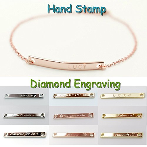 A Personalized Name Bar Bracelet 16K Gold Rose Gold Silver -Plated Plate Charms Hand Stamp or Computer Diamond Engraving bridesmaid Wedding Graduation Birthday Anniversary Vacation (Homemade Pilgrim Costumes)