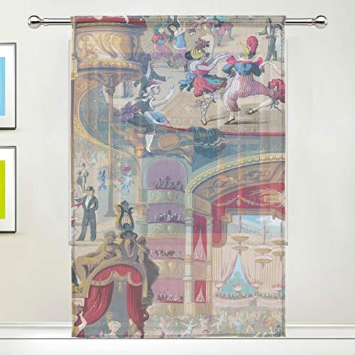 Lxmn Cabaret Door Window Room Sheer Curtain Window Drape 213 Panel Scarf Valances Wide Width Gauze Curtain for Bedroom Kitchen 55x78in ()