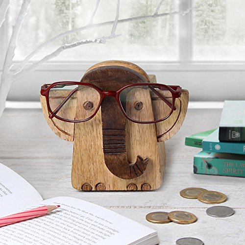 Wooden Spectacle Holder Eyeglass Holder Elephant Display Stand and Piggy Bank with Free Bookmark Home Office Desk Decor - Kids Glasses Savers Spec