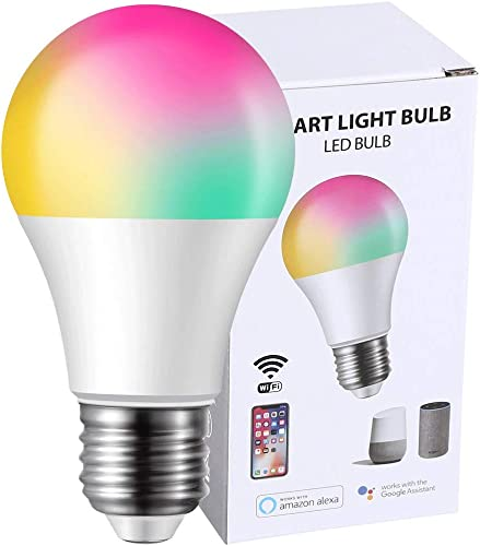 Smart Light Bulb WiFi Multicolor LED Bulbs Compatible with Alexa Google Home No Hub Required , RGBW Color Changing White Light 2700K 6500K Dimmable A19 A60 E26 8W 60W Equivalent 1 Pack