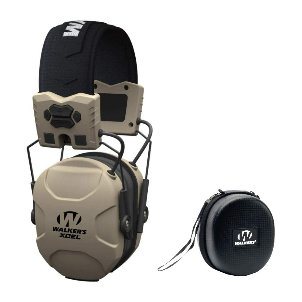 Walkers XCEL 100 Digital Electronic Shooting Hearing Protection Muff with Voice Clarity, and Protective Case Bundle by Walkers