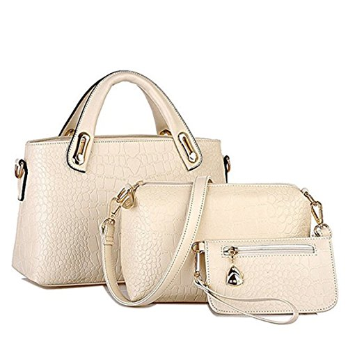 Women Fashion PU Leather Handbag+Shoulder Bag+Purse 3pcs Set Tote Handbag (White) by Fayun