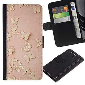 LASTONE PHONE CASE / Lujo Billetera de Cuero Caso del tirón Titular de la tarjeta Flip Carcasa Funda para Sony Xperia Z1 Compact D5503 / Butterfly Gold Bling Spring Peach Pink