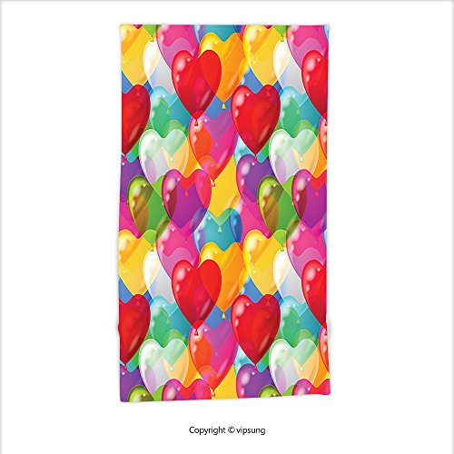 Vipsung Microfiber Ultra Soft Hand Towel-Love Decor Collection Heart Shaped Balloons Colorful Illustration Cheerful Birthday Carnival Happy For Hotel Spa Beach Pool Bath (Happy Birthday Steelers)