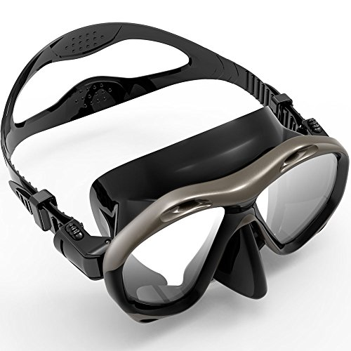 Zionor M2 Diving Mask Low Volume Design Tempered Glass Lens Wide View Distortion-Free Durable Liquid Silicone for Scuba Diving Snorkeling Freediving (Black)