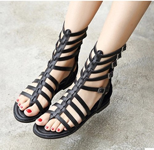 Confortable Womens Sandales Linyi Summer Creux Romain Style Chaussures Black Appartements q674SOf