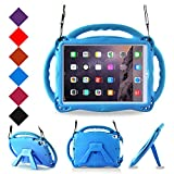 BMOUO Kids Case for New iPad 9.7 inch 2017/2018 - Shoulder Strap Shockproof Handle Stand Case for iPad 9.7 inch 2017/iPad 9.7 inch 2018/iPad Air/iPad Air 2 - Blue