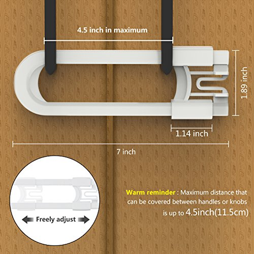 Cabinet Locks for Child Safety, 8 Pack Baby Proofing U-Shaped Sliding Cabinet Locks Latches for Knobs and Handles - Easy Install Without Drilling or Adhesive by Cynkie (Image #3)