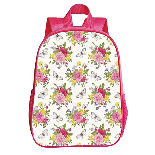 Sweet Designs Red Pea (iPrint Self-defined Trumpet Red Backpack,Shabby Chic Decor,Peonies Roses Sweet Peas Bell Colorful Bouquet Butterflies Botany Garden,Multicolor,for Children,Pictures Print Design.11.8