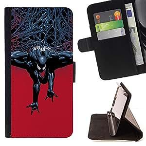 - Evil Superhero - - Prima caja de la PU billetera de cuero con ranuras para tarjetas, efectivo desmontable correa para l Funny HouseFOR HTC DESIRE 816