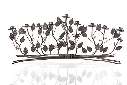 Bronze Brambles Menorah With Tan and Cream Color Pearl Flowers