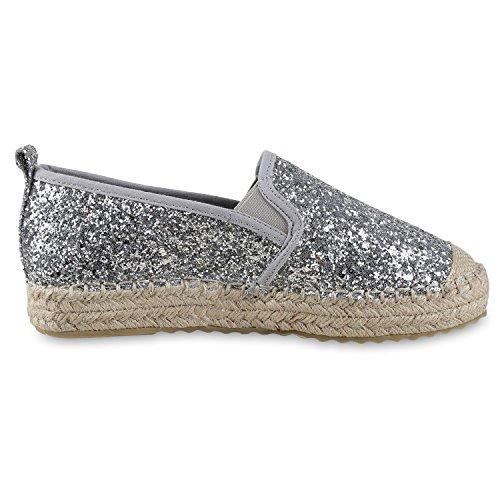 Schuhe Slipper Glitzerapplikationen Gr Silber Japado Bequeme 36 Funkelnde Komfortable Sommer Silver Espadrilles Damen 41 Modische zxInSa1