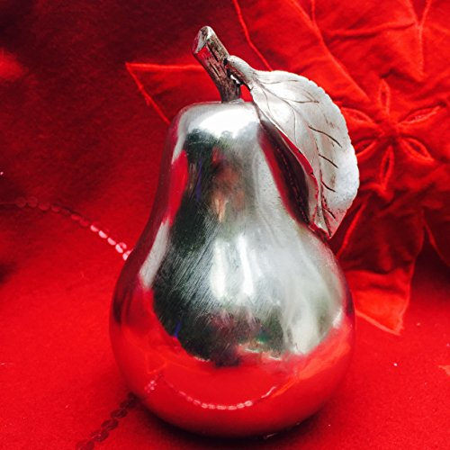 The Crosby Street Chic Decorative Pear, Handcrafted, Silver, Metallic Cast Polyresin, 5 1/8 D x 5 7/8H Inches, By Whole House (Modern Fruit Pear)