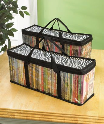 Set of 2 DVD Storage Bags - Holds 40 DVD's Each - 80 Total (Zebra)