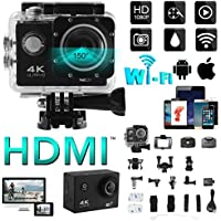 XCSOURCE 4K WIFI Sports Action Camera 2.0 LCD Display Ultra HD Water-resistant Cam 12MP DV Camcorder with Remote Control Wide Angle with Accessories Kits LF819