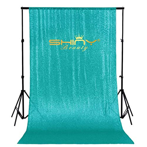 ShinyBeauty Teal Sequin Backdrop 9ftx9ft Teal Glitter Backdrop for Photos Sequin Backdrop Photo Booth Curtain Sequin Party -