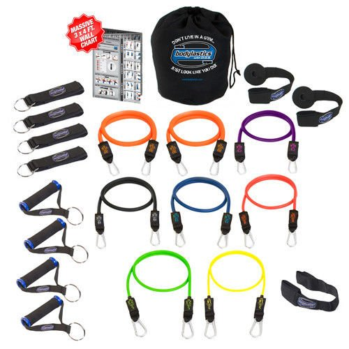 Pilates Kit NEW Bodylastics Heavy Duty Resistance Bands 21 Pcs Fitness Exercise Tubes Set by Pilates Equipment Straps