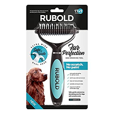 Dematting Tool for Dogs - The Best Dog Grooming Comb for Undercoat Removal - Professional Pet Rake Brush for Small Medium and Large Dogs and Cats with Medium and Long Hair - Rubold Fur Perfection