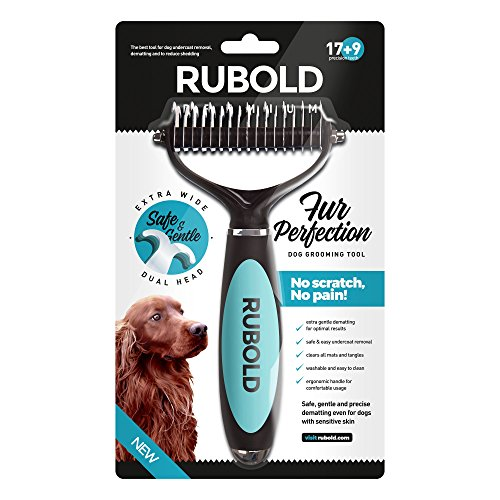 Dematting-Tool-for-Dogs-The-Best-Dog-Grooming-Comb-for-Undercoat-Removal--Professional-Rake-Brush-for-Small-Medium-and-Large-Breeds-with-Medium-and-Long-Hair-Coats-Rubold-Fur-Perfection