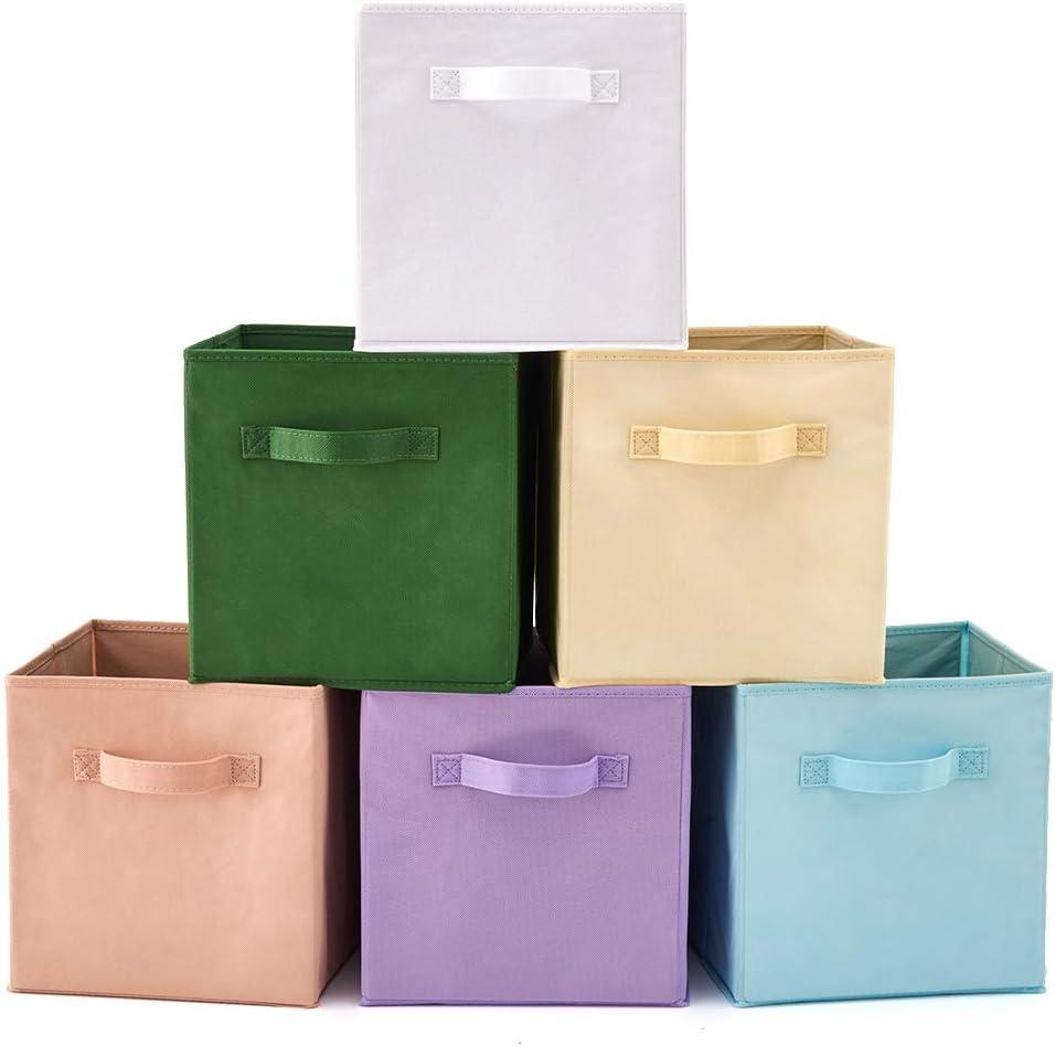 EZOWare Caja de Almacenaje con 6 pcs, Set de 6 Cajas de Juguetes, Caja de Tela para Almacenaje, (Colores Variados 2)