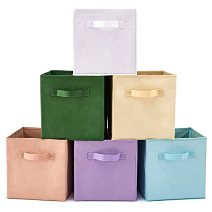 2 Ezoware Caja JuguetesTela Almacenajecolores Almacenaje Para 6 Cajas De Con PcsSet Variados nkwP80OX