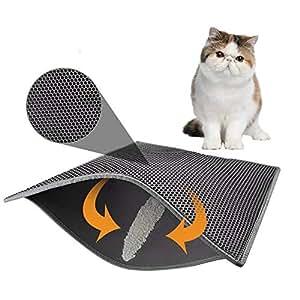 AUOKER Alfombrilla de Arena para Gato, tamaño Grande, diseño de Gatito de Panal de
