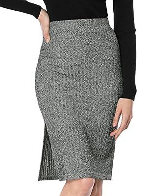 Allegra K Women's Elastic Waist Slit Side Stretch Bodycon Midi Pencil Knit Skirt