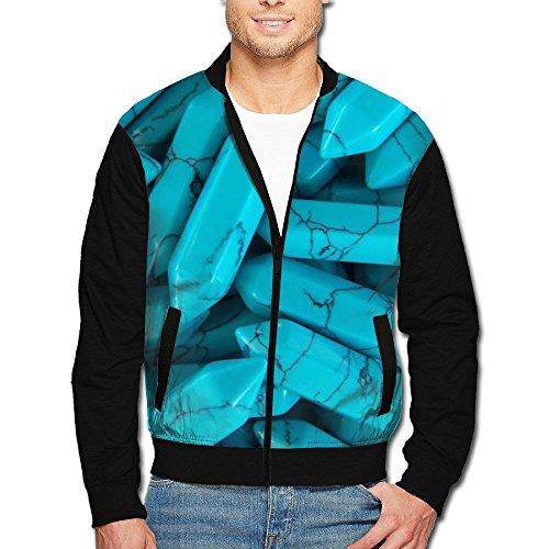 Price comparison product image CYLII Bleu Pendentif Men's Zip Front Jacket Print Stand Collar Baseball Bomber Jacket