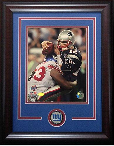 Jay Alford signed 8x10 SB XLII Sack photo framed Giants coin auto Steiner COA Tom Brady