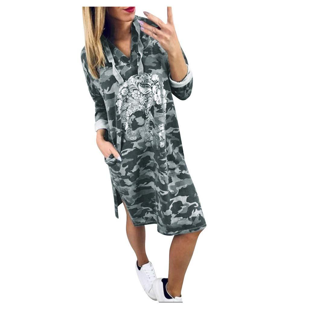 Shusuen Women Bohemian Neck Tie Vintage Camouflage Printed Hoodie Dress with Pocket Sexy Split Tunics by Shusuen_Clothes