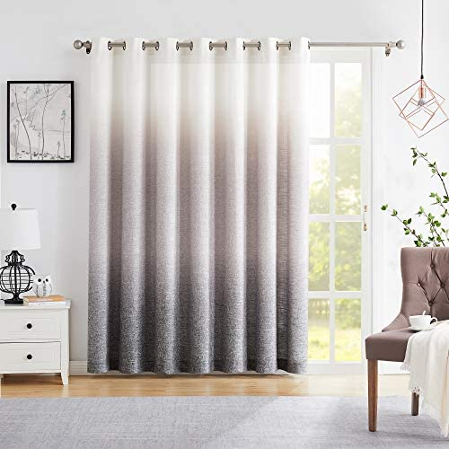 Central Park Ombre Window Door Curtain 100″ Extra Wide Linen Ombre Gradient Print on Rayon Blend Fabric Treatment - a good cheap window curtain panel