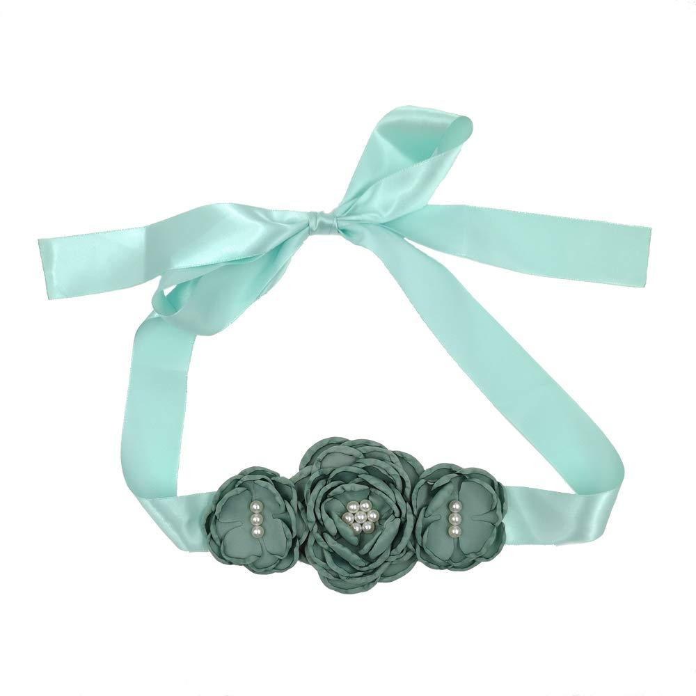 Satin Flower Sash Belt with Layered 3 Flower for Wedding Girls Dress JB288 (13-Sage green)