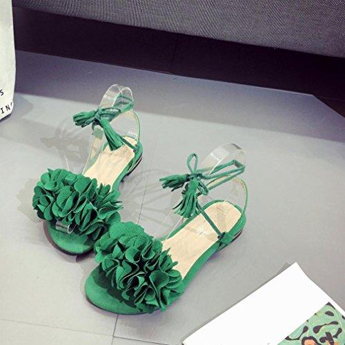 Fheaven Kvinnor Tofs Blommor Platta Avslappnad Strand Snörning Skor Sandals Grön