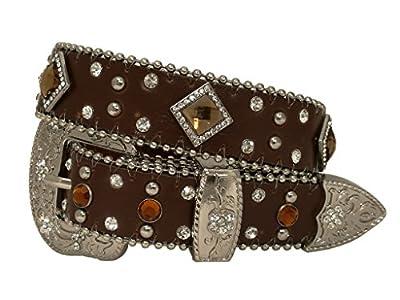 Kids Western Cowboy Cowgirl Rhombic Rhinestone Studded Shiny Belt With Silver Flower Buckle