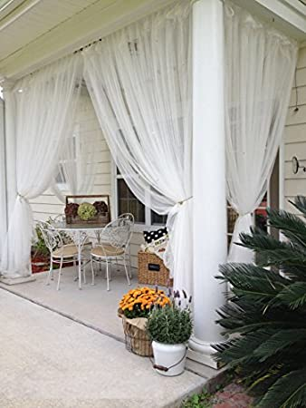 2 Panels Sheer Lace Curtains 110u0026quot;x98u0026quot; Each Great Indoor Outdoor  Porch ...