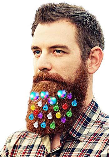 Jalunth 20pcs Christmas Light Up Beard Ornaments, 16 Pcs Sounding Jingle Bells, 4 Pcs Beard Lights Beard Bauble Ornaments New Year Festival Gift Glitter Stuff Jewelry Fairy Accessories (20 Pcs)