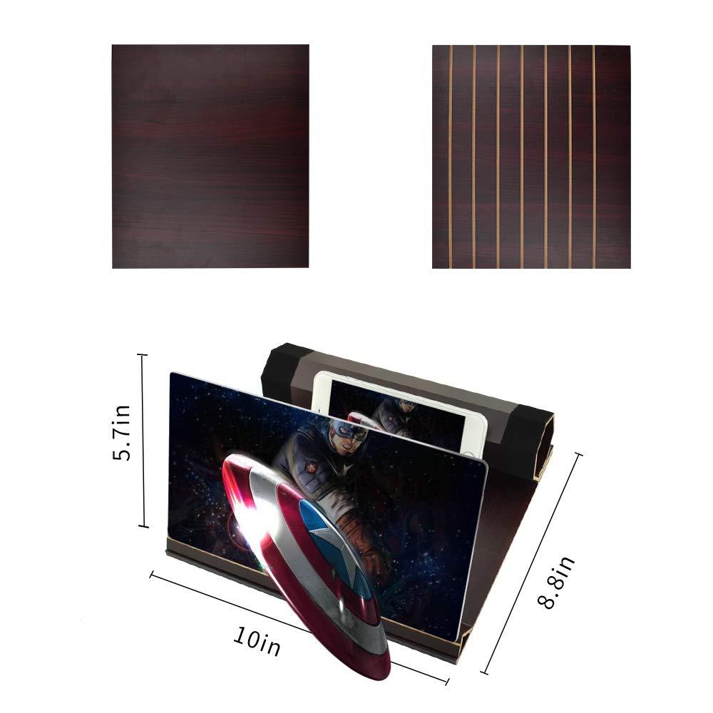 Newseego 12 Lupa de la Pantalla del Tel/éfono 3D HD Videos de Pel/ículas Lupa de Pantalla Madera S/ólida Tenedor Plegable de Pantalla del Tel/éfono para Todos los Smartphones