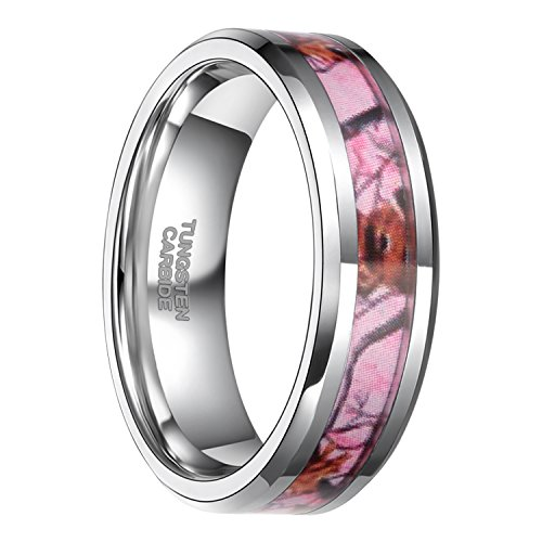 Frank S.Burton 6mm 8mm Pink Camo Tungsten Rings Deer Antlers Hunting Camouflage Engagement Wedding Band Size 4-14 (6 MM, 8) (Camouflage Ring)