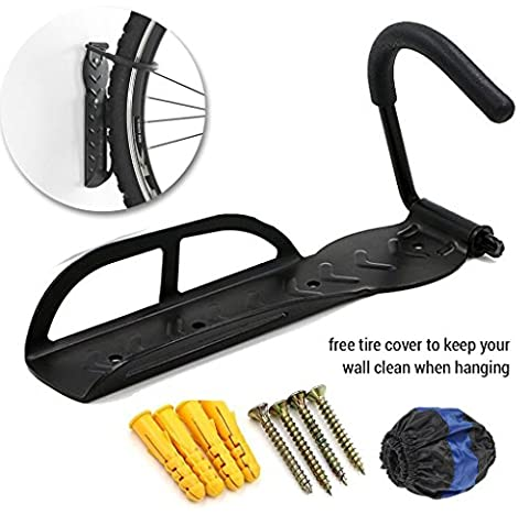 Hanging Bike Rack | Heavy Duty 1 Pc Steel Wall Mount Bicycle Hanger Bike Holder | Space Saving Storage for Home Garage Shed | Easy To Install Mounting | Tire Cover Included To Prevent Wall (Bike Vertical Floor Stand)