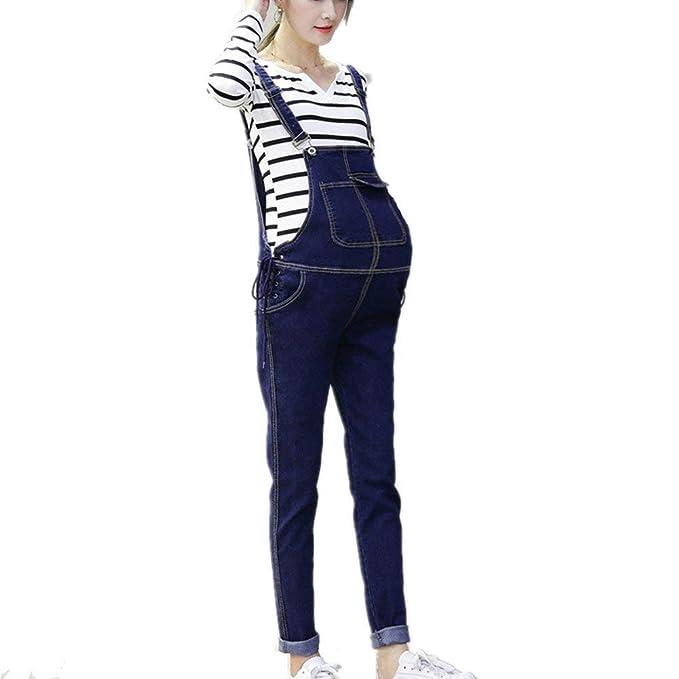 Pantaloni da Donna Premaman Jeans Fashion Vintage Abbigliamento Senza  Maniche con Bretelle Incrociate Bib Shorts Bavaglini Eleganti Trendy con  Colori Solidi ... bd2c52de0ddb