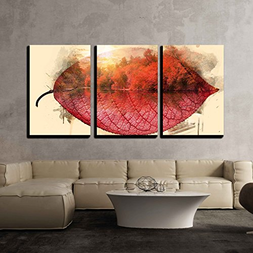 Tree Framed Wall (wall26 - 3 Piece Canvas Wall Art - Abstract Double Exposure Effect of Trees and a Lake in Fall on a Red Leaf - Modern Home Decor Stretched and Framed Ready to Hang - 24