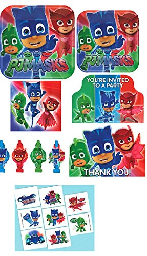 Amscan Pj Mask Birthday Party Pack! Bundle of Plates, Napkins, Invitations, Thank