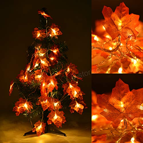 E-storise 2 Pack 19.6FT(6M) 40 LEDs Maple Leaf Garland String Lights for Bar,Party,Christmas,Home Decorations(Warm White Light)
