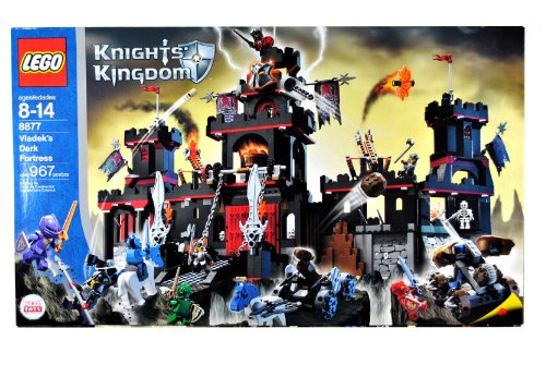 ts Kingdom Series Castle Set # 8877 - VLADEK'S DARK FORTRESS with Spring-Loaded Missiles, Catapult, Vat of Fake Boiling Oil, Scary Dungeon with Skeletons and Pretend Spider Webs, Horse Drawn Catapult Plus Lord Vladek, 3 Shadow Knights, Sir Rascus, Sir Danju, Sir Santis and Sir Jayko Minifigures (Total Pieces: 967) (Dark Fortress Set)