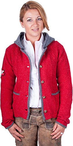 Almwerk Damen Strick Jacke Antonia mit abnehmbarer Kapuze in verschiedenen Farben, Größe Damen:3XL - Größe 46;Farbe:Rot/Grau