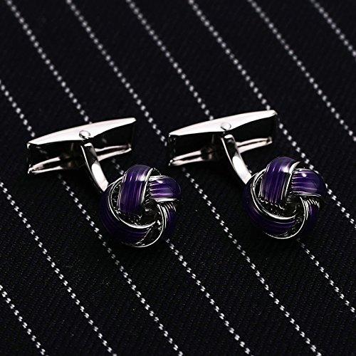 Aokarry Cufflinks-Men's Stainless Steel Love Knot Cuff Links Purple by Aokarry (Image #2)