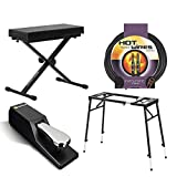 Ultimate Support JS-MPS1 Multi-Purpose Mixer/Keyboard Stand + Ultimate Support JS-MB100 Medium X-Style Keyboard Bench + M-Audio SP-2 Universal Sustain Pedal + Instrument Cable + Value Accessory Bundle